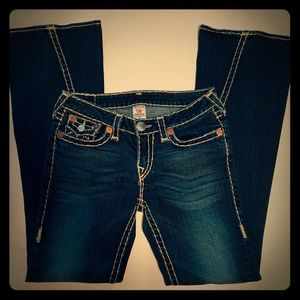 True Religion Joey Twisted Flare Dark Wash Jeans